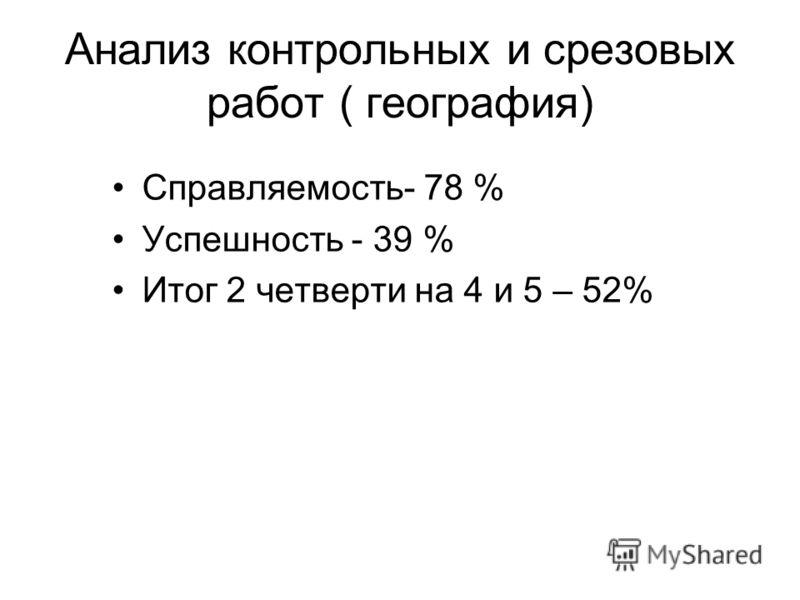 Анализ контрольных и срезовых работ ( география) Справляемость- 78 % Успешность - 39 % Итог 2 четверти на 4 и 5 – 52%