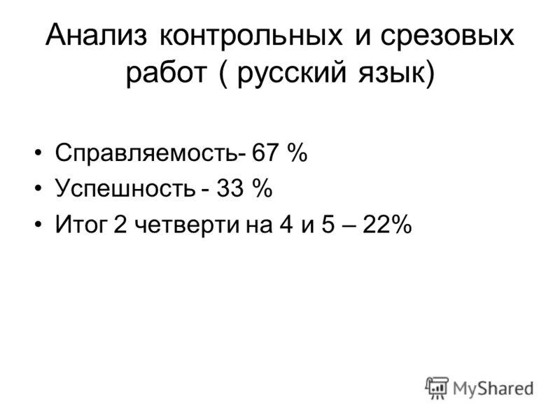 Анализ контрольных и срезовых работ ( русский язык) Справляемость- 67 % Успешность - 33 % Итог 2 четверти на 4 и 5 – 22%