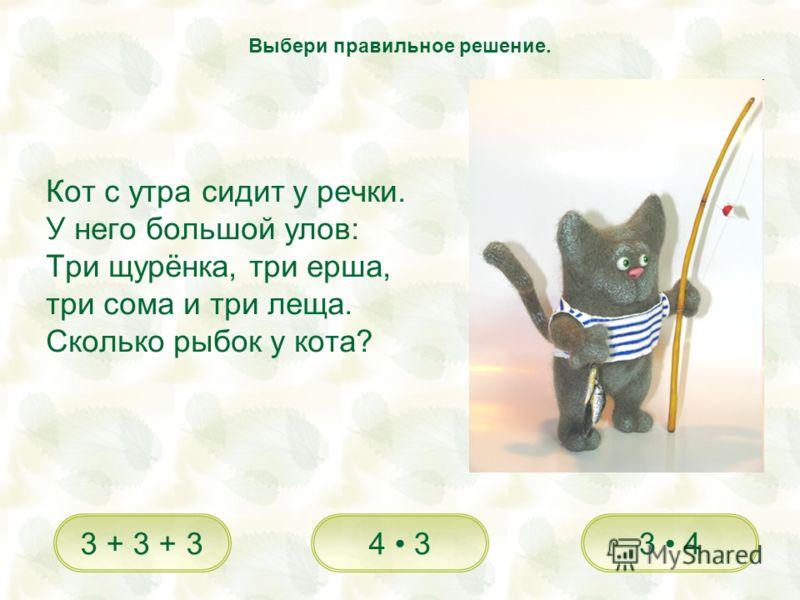 Кот с утра сидит у речки. У него большой улов: Три щурёнка, три ерша, три сома и три леща. Сколько рыбок у кота? 3 44 33 + 3 + 3 Выбери правильное решение.