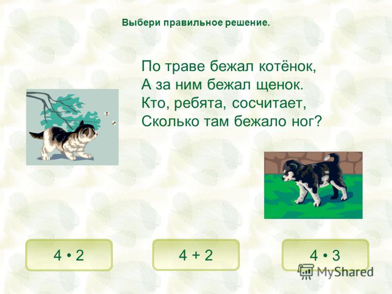 По траве бежал котёнок, А за ним бежал щенок. Кто, ребята, сосчитает, Сколько там бежало ног? 4 2 4 + 2 4 3 Выбери правильное решение.