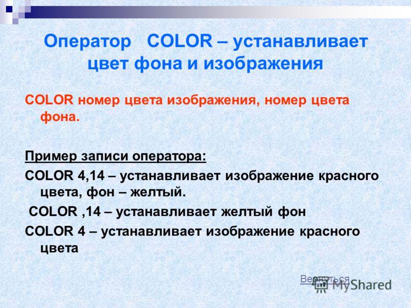 Номера цветов Темные цветаСветлые цвета 0Черный8Темно-серый 1Синий9Светло-синий 2Зеленый10Светло-зеленый 3Голубой11Светло-голубой 4Красный12Светло-красный 5Фиолетовый13Светло-фиолетовый 6Коричневый14Желтый 7Серый15Белый Вернуться