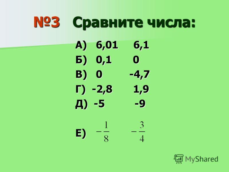 3 Сравните числа: А) 6,01 6,1 Б) 0,1 0 В) 0 -4,7 Г) -2,8 1,9 Д) -5 -9 Е)