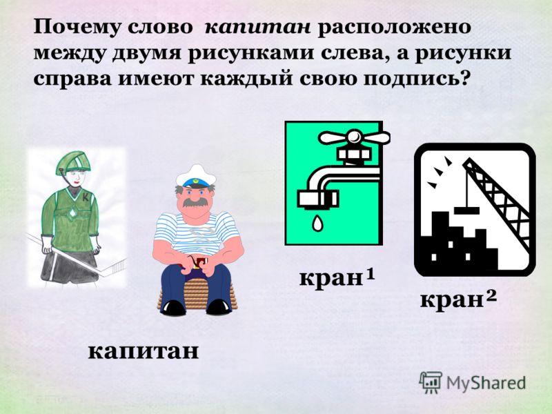 Почему слово капитан расположено между двумя рисунками слева, а рисунки справа имеют каждый свою подпись? капитан кран¹ кран²