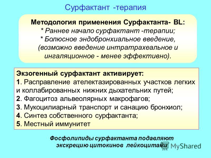 Сурфактант -терапия Экзогенный сурфактант активирует: 1. Расправление ателектазированных участков легких и коллабированных нижних дыхательних путей; 2. Фагоцитоз альвеолярных макрофагов; 3. Мукоцилиарный транспорт и санацию бронхиол; 4. Синтез собств