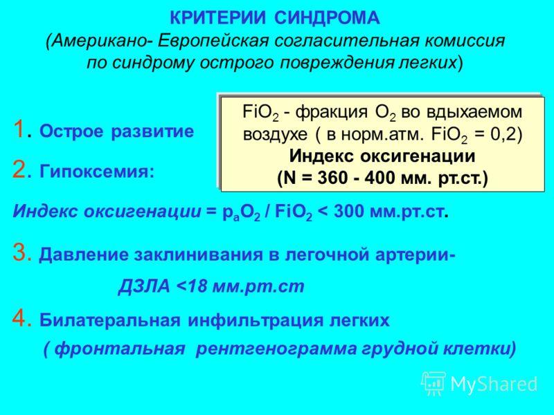 КРИТЕРИИ СИНДРОМА (Американо- Европейская согласительная комиссия по синдрому острого повреждения легких) 1. Острое развитие 2. Гипоксемия: Индекс оксигенации = р а О 2 / FiO 2 < 300 мм.рт.ст. 3. Давление заклинивания в легочной артерии- ДЗЛА