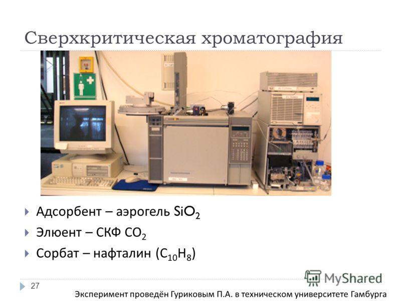 Сверхкритическая хроматография Адсорбент – аэрогель SiO 2 Элюент – СКФ СО 2 Сорбат – нафталин ( С 10 Н 8 ) 27 Эксперимент проведён Гуриковым П. А. в техническом университете Гамбурга