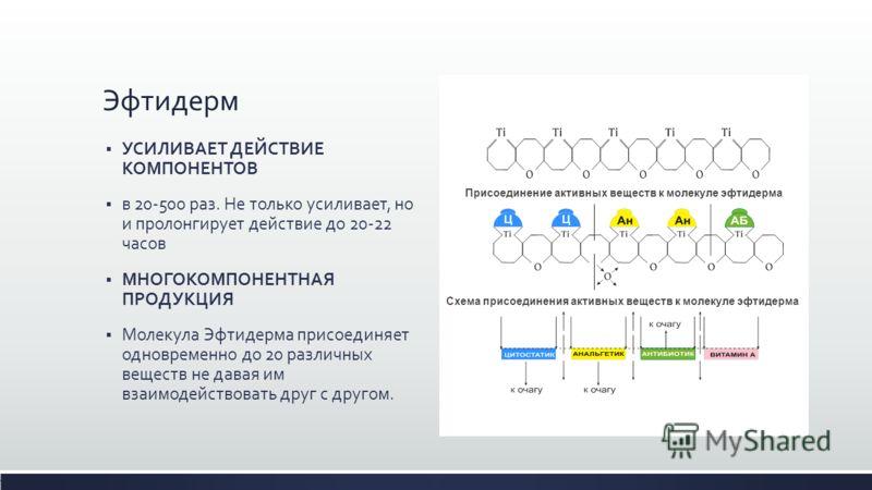 Эфтидерм УСИЛИВАЕТ ДЕЙСТВИЕ КОМПОНЕНТОВ в 20-500 раз. Не только усиливает, но и пролонгирует действие до 20-22 часов МНОГОКОМПОНЕНТНАЯ ПРОДУКЦИЯ Молекула Эфтидерма присоединяет одновременно до 20 различных веществ не давая им взаимодействовать друг с