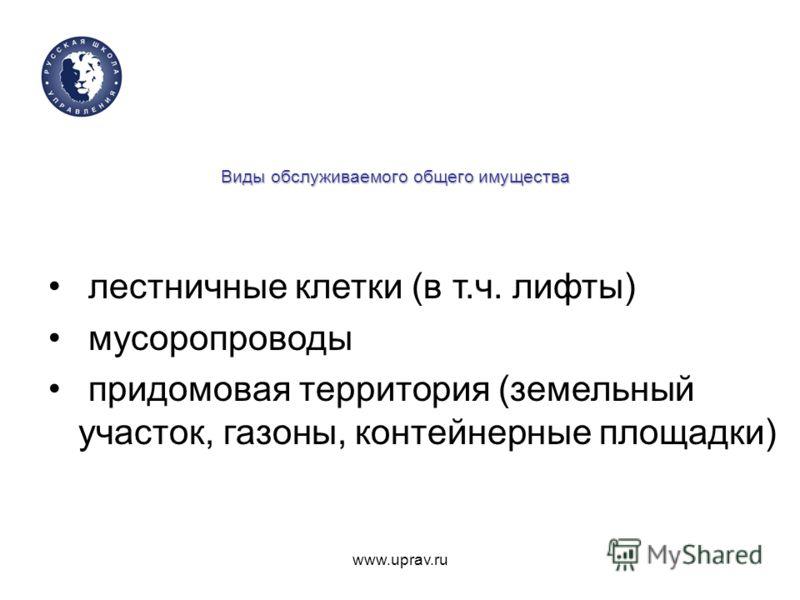 www.uprav.ru Виды обслуживаемого общего имущества лестничные клетки (в т.ч. лифты) мусоропроводы придомовая территория (земельный участок, газоны, контейнерные площадки)