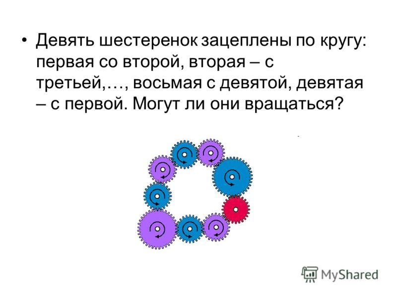 Девять шестеренок зацеплены по кругу: первая со второй, вторая – с третьей,…, восьмая с девятой, девятая – с первой. Могут ли они вращаться?