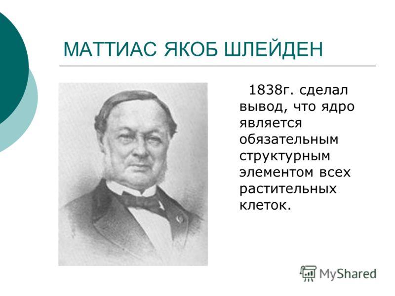 МАТТИАС ЯКОБ ШЛЕЙДЕН 1838г. сделал вывод, что ядро является обязательным структурным элементом всех растительных клеток.