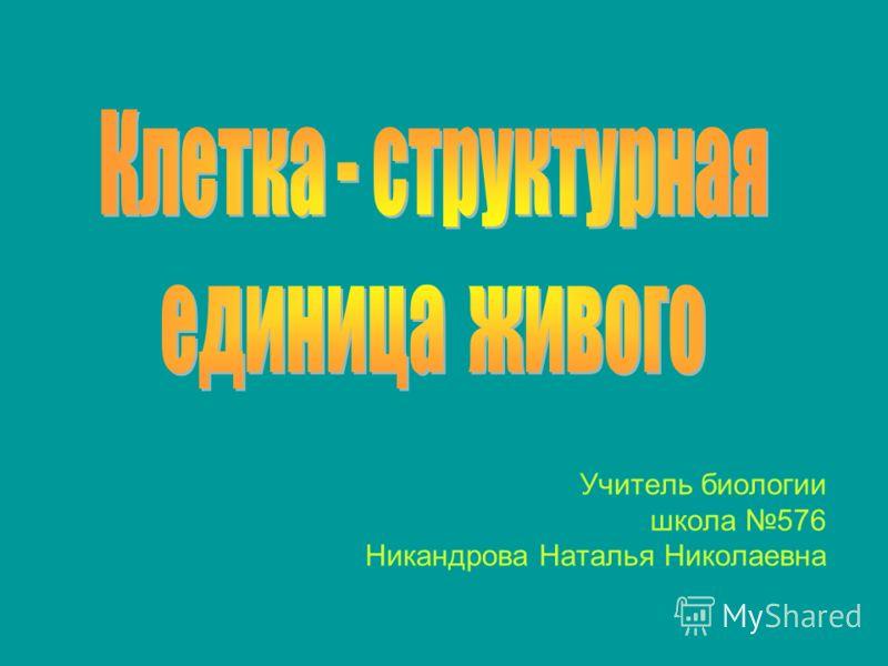 Учитель биологии школа 576 Никандрова Наталья Николаевна
