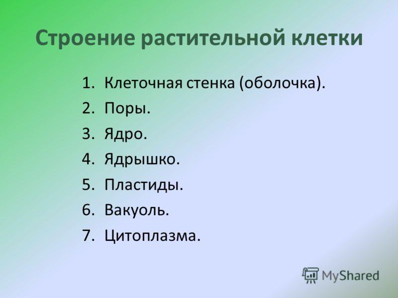 1.Клеточная стенка (оболочка). 2.Поры. 3.Ядро. 4.Ядрышко. 5.Пластиды. 6.Вакуоль. 7.Цитоплазма.