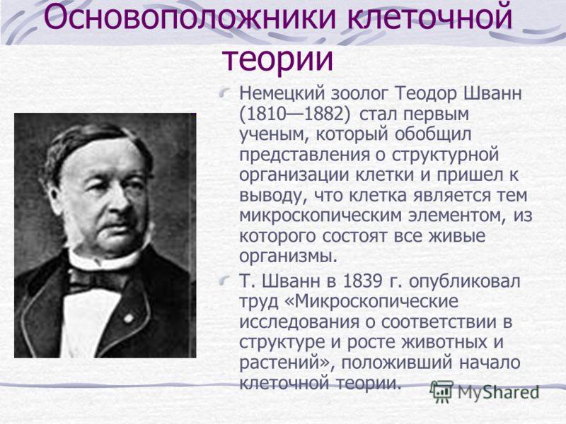 Основоположники клеточной теории Немецкий зоолог Теодор Шванн (18101882) стал первым ученым, который обобщил представления о структурной организации клетки и пришел к выводу, что клетка является тем микроскопическим элементом, из которого состоят все