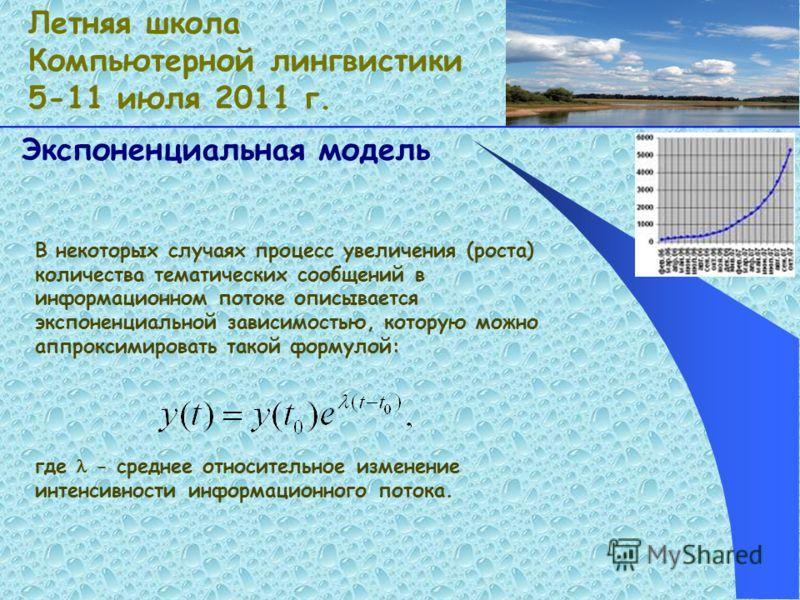 Экспоненциальная модель В некоторых случаях процесс увеличения (роста) количества тематических сообщений в информационном потоке описывается экспоненциальной зависимостью, которую можно аппроксимировать такой формулой: где - среднее относительное изм