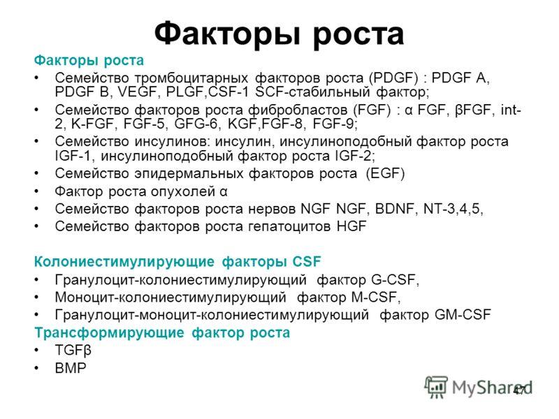 47 Факторы роста Семейство тромбоцитарных факторов роста (PDGF) : PDGF A, PDGF B, VEGF, PLGF,CSF-1 SCF-стабильный фактор; Семейство факторов роста фибробластов (FGF) : α FGF, βFGF, int- 2, K-FGF, FGF-5, GFG-6, KGF,FGF-8, FGF-9; Cемейство инсулинов: и