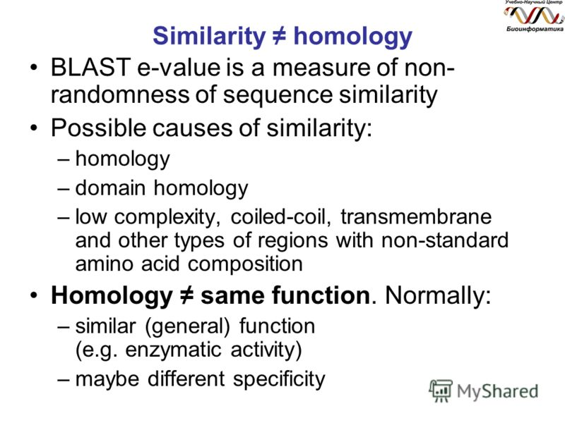 Similarity homology BLAST e-value is a measure of non- randomness of sequence similarity Possible causes of similarity: –homology –domain homology –low complexity, coiled-coil, transmembrane and other types of regions with non-standard amino acid com