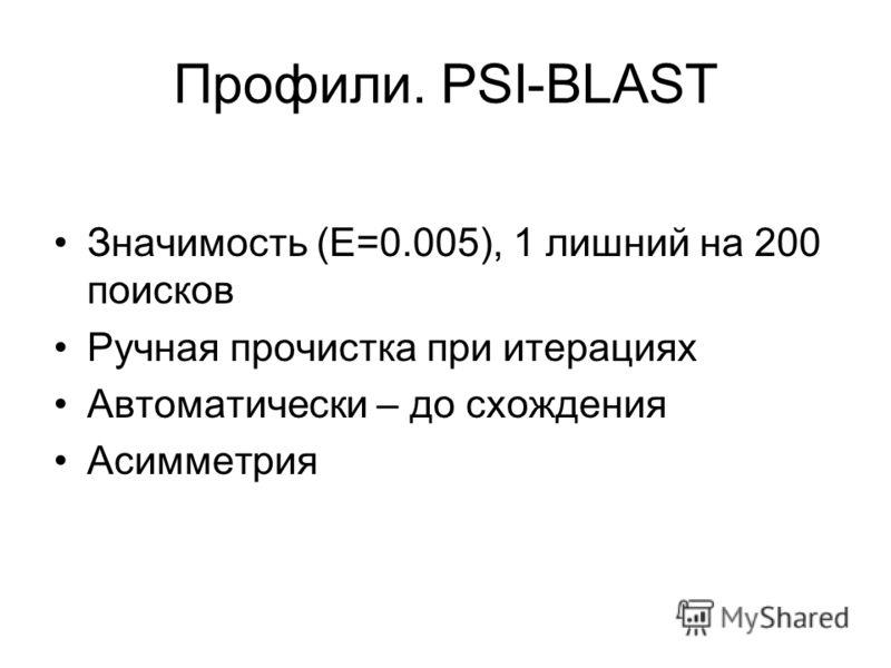 Профили. PSI-BLAST Значимость (E=0.005), 1 лишний на 200 поисков Ручная прочистка при итерациях Автоматически – до схождения Асимметрия