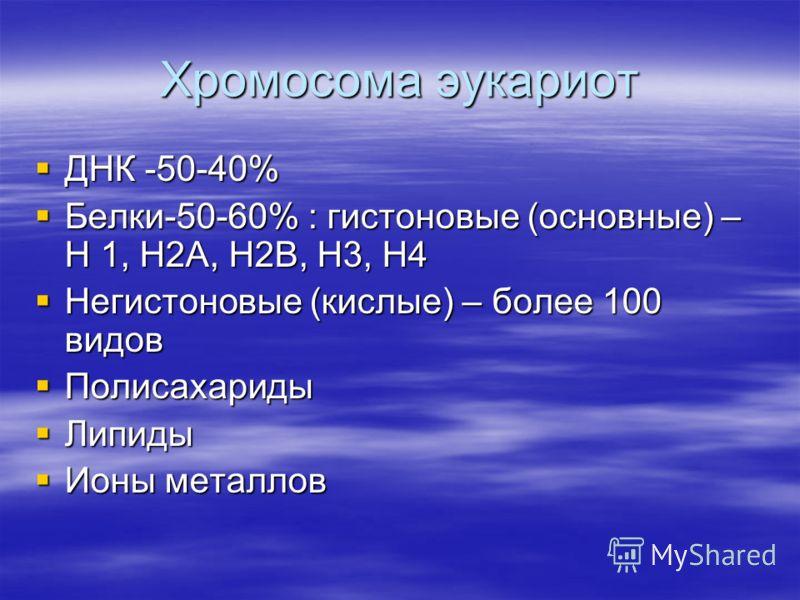 Хромосома эукариот ДНК -50-40% ДНК -50-40% Белки-50-60% : гистоновые (основные) – Н 1, Н2А, Н2В, Н3, Н4 Белки-50-60% : гистоновые (основные) – Н 1, Н2А, Н2В, Н3, Н4 Негистоновые (кислые) – более 100 видов Негистоновые (кислые) – более 100 видов Полис