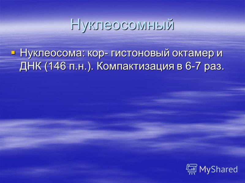 Нуклеосомный Нуклеосома: кор- гистоновый октамер и ДНК (146 п.н.). Компактизация в 6-7 раз. Нуклеосома: кор- гистоновый октамер и ДНК (146 п.н.). Компактизация в 6-7 раз.