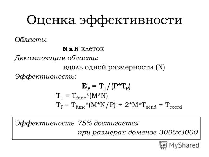 Оценка эффективности Область : M x N клеток Декомпозиция области : вдоль одной размерности (N) Эффективность : E P = T 1 /(P*T P ) T 1 = T func *(M*N) T P = T func *(M*N/P) + 2*M*T send + Т coord Эффективность 75% достигается при размерах доменов 300