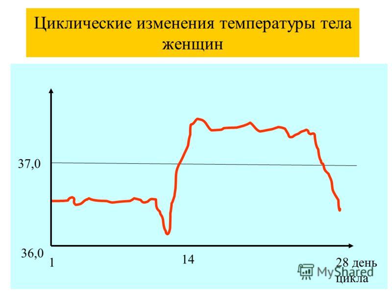 Циклические изменения температуры тела женщин 37,0 1 14 28 день цикла 36,0