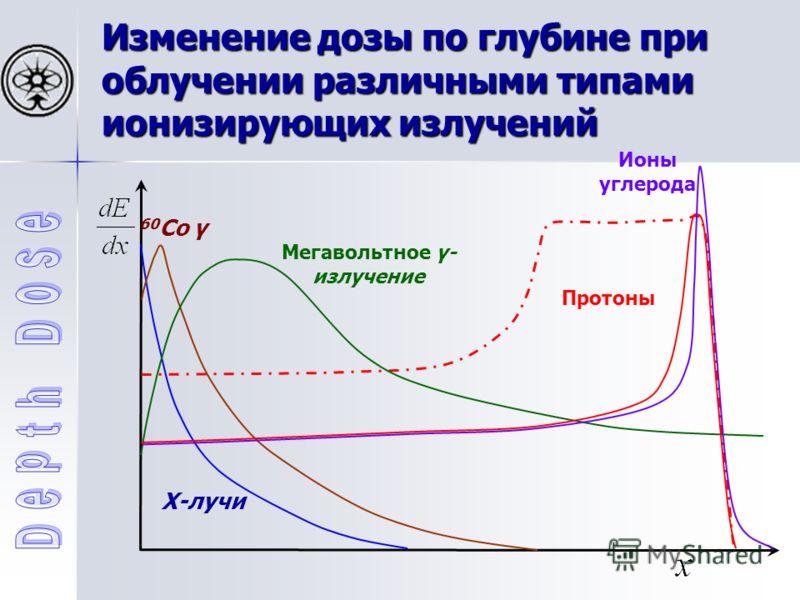 Изменение дозы по глубине при облучении различными типами ионизирующих излучений X-лучи 60 Co γ Мегавольтное γ- излучение Протоны Ионы углерода