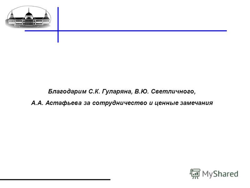 Благодарим С.К. Гуларяна, В.Ю. Светличного, А.А. Астафьева за сотрудничество и ценные замечания