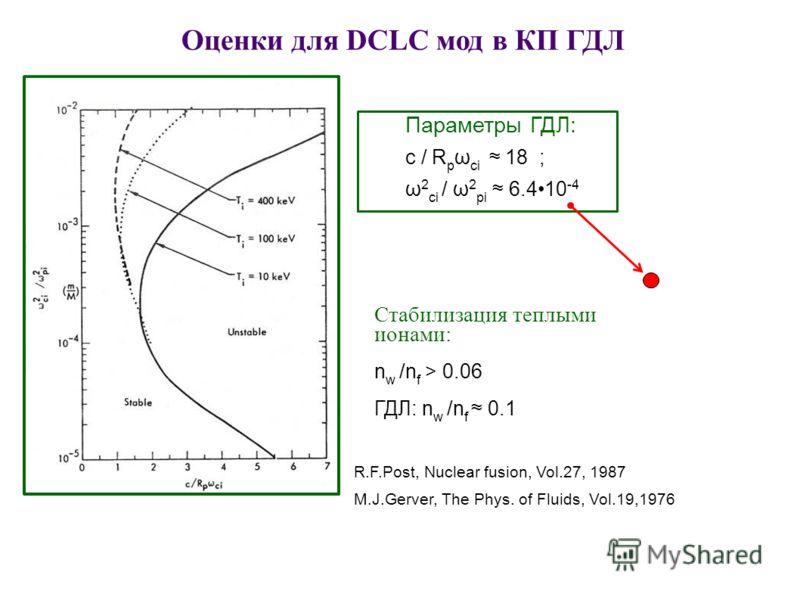 Параметры ГДЛ: c / R p ω ci 18 ; ω 2 ci / ω 2 pi 6.410 -4 Стабилизация теплыми ионами: n w /n f > 0.06 ГДЛ: n w /n f 0.1 R.F.Post, Nuclear fusion, Vol.27, 1987 M.J.Gerver, The Phys. of Fluids, Vol.19,1976 Оценки для DCLC мод в КП ГДЛ