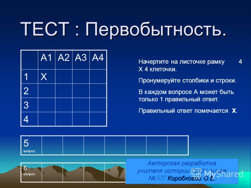 ТЕСТ : Первобытность. Начертите на листочке рамку 4 Х 4 клеточки. Пронумеруйте столбики и строки. В каждом вопросе А может быть только 1 правильный ответ. Правильный ответ помечается Х. А1А2А3А4 1Х 2 3 4 5 вопрос 6 вопрос Коробковой О.Е. Авторская ра