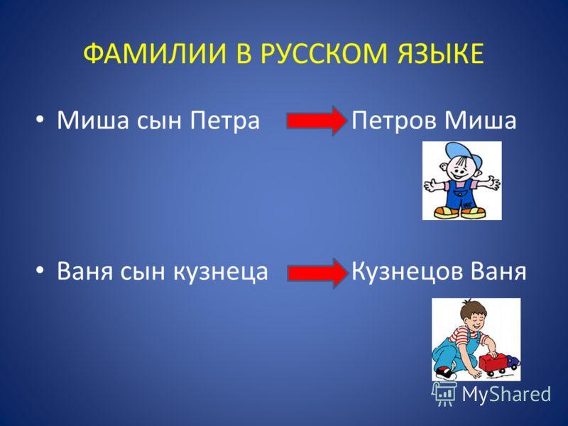 Миша сын Петра Петров Миша Ваня сын кузнеца Кузнецов Ваня ФАМИЛИИ В РУССКОМ ЯЗЫКЕ