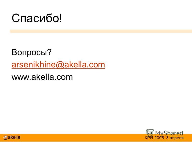 Спасибо! Вопросы? arsenikhine@akella.com www.akella.com КРИ 2005. 3 апреля.