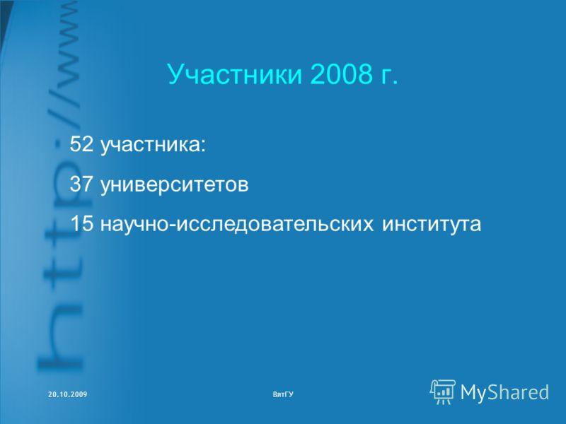 20.10.2009ВятГУ Участники 2008 г. 52 участника: 37 университетов 15 научно-исследовательских института