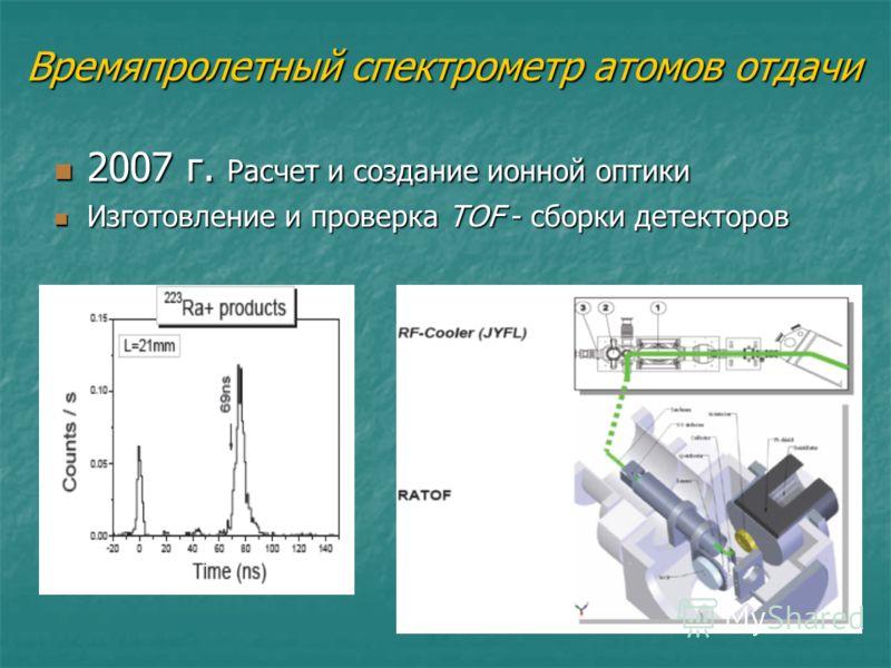 Времяпролетный спектрометр атомов отдачи 2007 г. Расчет и создание ионной оптики 2007 г. Расчет и создание ионной оптики Изготовление и проверка TOF - сборки детекторов Изготовление и проверка TOF - сборки детекторов