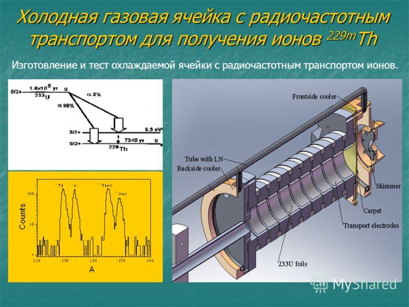 Холодная газовая ячейка с радиочастотным транспортом для получения ионов 229m Th Изготовление и тест охлаждаемой ячейки с радиочастотным транспортом ионов.