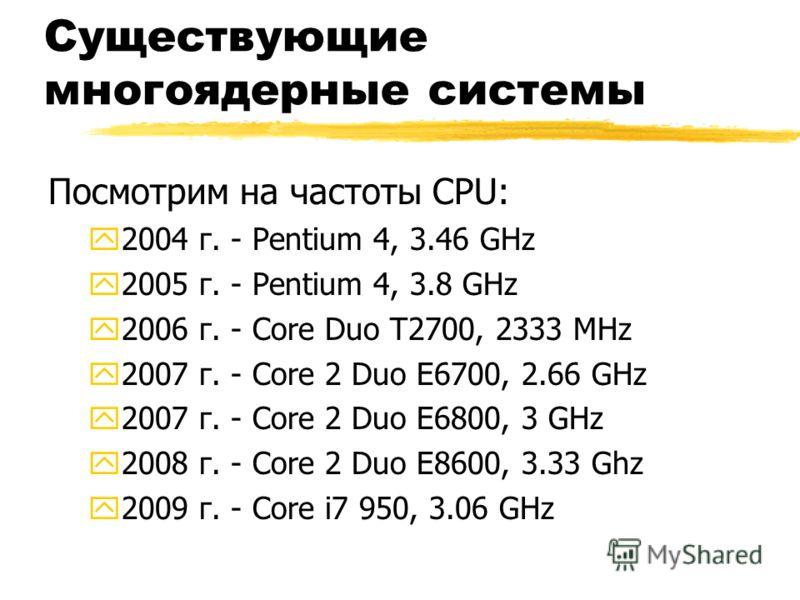 Существующие многоядерные системы Посмотрим на частоты CPU: y2004 г. - Pentium 4, 3.46 GHz y2005 г. - Pentium 4, 3.8 GHz y2006 г. - Core Duo T2700, 2333 MHz y2007 г. - Core 2 Duo E6700, 2.66 GHz y2007 г. - Core 2 Duo E6800, 3 GHz y2008 г. - Core 2 Du