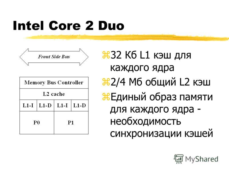 Intel Core 2 Duo z32 Кб L1 кэш для каждого ядра z2/4 Мб общий L2 кэш zЕдиный образ памяти для каждого ядра - необходимость синхронизации кэшей
