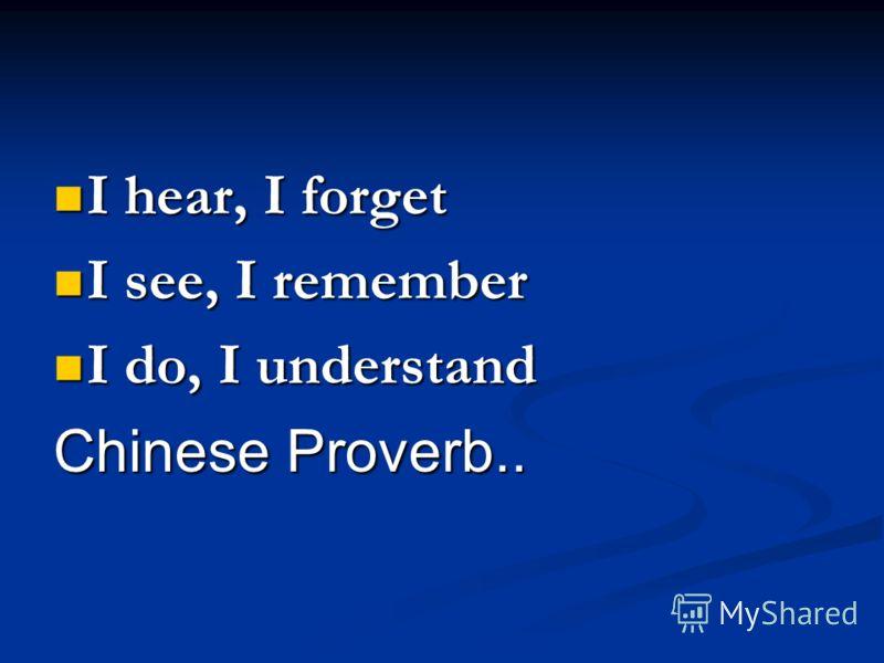 I hear, I forget I hear, I forget I see, I remember I see, I remember I do, I understand I do, I understand Chinese Proverb..