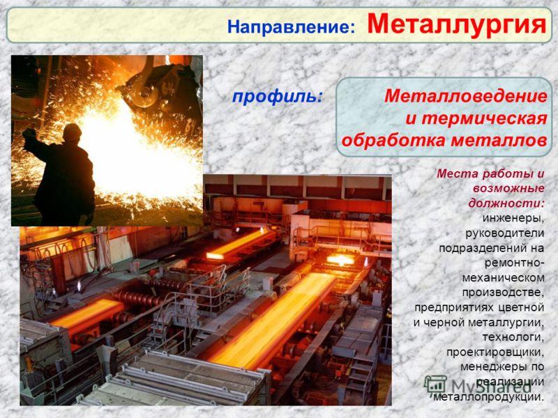 Места работы и возможные должности: инженеры, руководители подразделений на ремонтно- механическом производстве, предприятиях цветной и черной металлургии, технологи, проектировщики, менеджеры по реализации металлопродукции. Направление: Металлургия