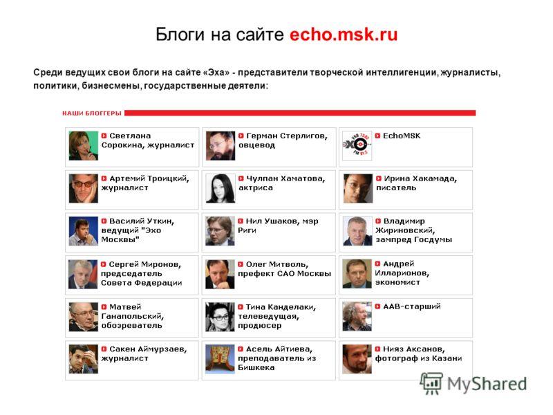 Блоги на сайте echo.msk.ru Среди ведущих свои блоги на сайте «Эха» - представители творческой интеллигенции, журналисты, политики, бизнесмены, государственные деятели: