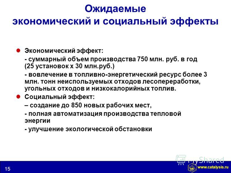 www.catalysis.ru 15 UIC Ожидаемые экономический и социальный эффекты Экономический эффект: - суммарный объем производства 750 млн. руб. в год (25 установок х 30 млн.руб.) - вовлечение в топливно-энергетический ресурс более 3 млн. тонн неиспользуемых