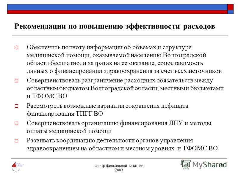 Центр фискальной политики 2003 19 Рекомендации по повышению эффективности расходов Обеспечить полноту информации об объемах и структуре медицинской помощи, оказываемой населению Волгоградской области бесплатно, и затратах на ее оказание, сопоставимос