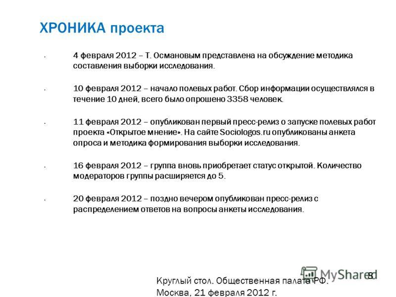 ХРОНИКА проекта 4 февраля 2012 – Т. Османовым представлена на обсуждение методика составления выборки исследования. 10 февраля 2012 – начало полевых работ. Сбор информации осуществлялся в течение 10 дней, всего было опрошено 3358 человек. 11 февраля