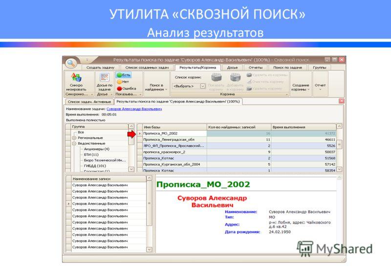 УТИЛИТА «СКВОЗНОЙ ПОИСК» Анализ результатов