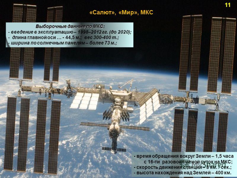 - время обращения вокруг Земли – 1,5 часа с 16-ти разовой сменой суток на МКС; - скорость движения станции – 8 км. / сек.; - высота нахождения над Землей – 400 км. «Салют», «Мир», МКС Выборочные данные по МКС Выборочные данные по МКС: - введение в эк