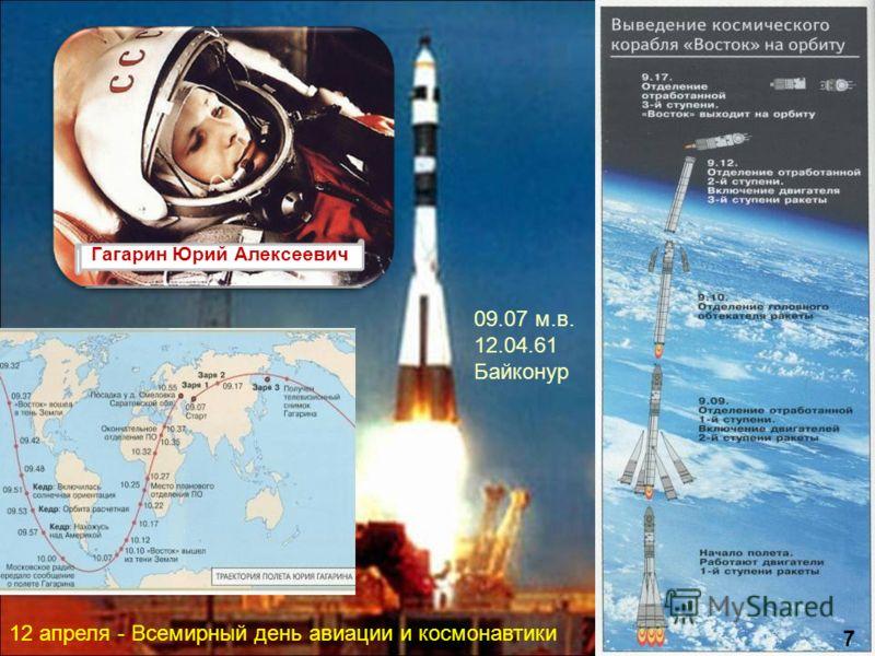 Гагарин Юрий Алексеевич 09.07 м.в. 12.04.61 Байконур 12 апреля - Всемирный день авиации и космонавтики 7