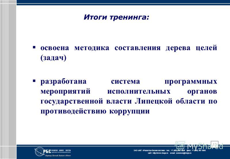 ЗАО « АКГ « Развитие бизнес-систем » тел.: +7 (495) 967 6838 факс: +7 (495) 967 6843 сайт: http://www.rbsys.ru e-mail: common@rbsys.ru 13 Итоги тренинга: освоена методика составления дерева целей (задач) разработана система программных мероприятий ис