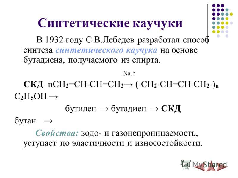 Синтетические каучуки В 1932 году С.В.Лебедев разработал способ синтеза синтетического каучука на основе бутадиена, получаемого из спирта. Na, t СКД nCH 2 =CH-CH=CH 2 (-CH 2 -CH=CH-CH 2 -) n C 2 H 5 OH бутилен бутадиен СКД бутан Свойства: водо- и газ