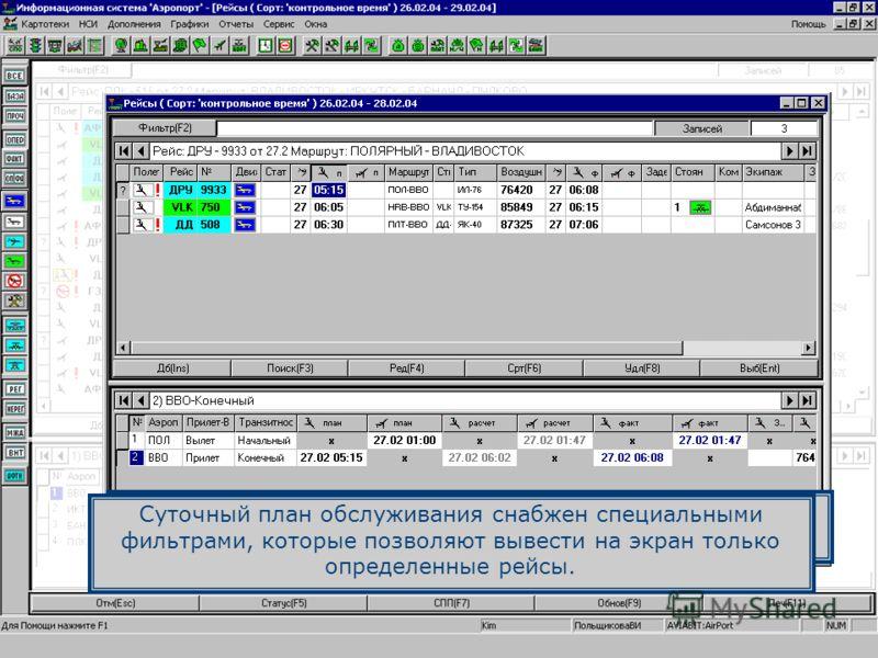 Используя фильтр, на экран можно вывести только рейсы, обслуживание которых выполняется в настоящее время. Суточный план обслуживания снабжен специальными фильтрами, которые позволяют вывести на экран только определенные рейсы.