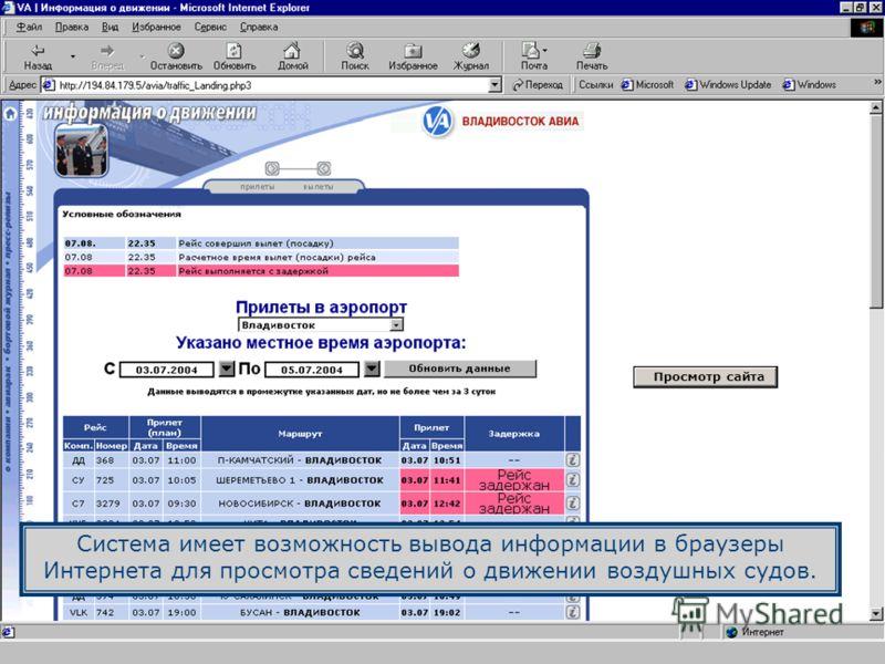Система имеет возможность вывода информации в браузеры Интернета для просмотра сведений о движении воздушных судов. Просмотр сайта