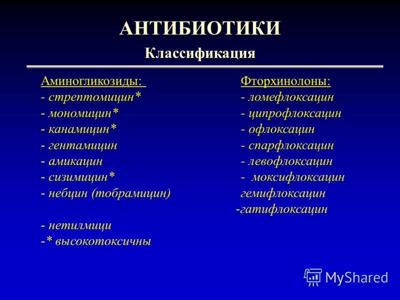 4 АНТИБИОТИКИКлассификация Аминогликозиды: Фторхинолоны: - стрептомицин* - ломефлоксацин - мономицин* - ципрофлоксацин - канамицин*- офлоксацин - гентамицин- спарфлоксацин - амикацин- левофлоксацин - сизимицин*- моксифлоксацин - небцин (тобрамицин)ге